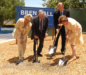 photo::From (l) to (r), Dean Richardson, Chancellor Cicerone, Mr. Bren, and Regent Kozberg break ground on the site of Bren Hall. The building is to be completed in late 2006.