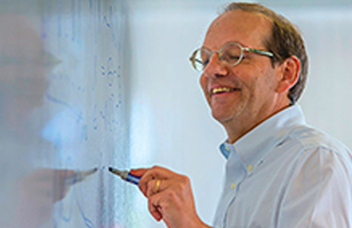 Picture of Hal Stern on white board - links to recruitment page for faculty