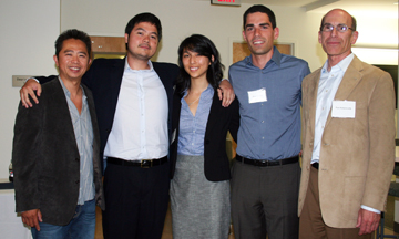Alumni David Cheng (left) and Paul Butterworth (right) with first-place winners Arthur Valadares, Jackie Doong and Boaz Gurdin