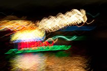 Blurred boat at the Newport Beach Parade of Lights