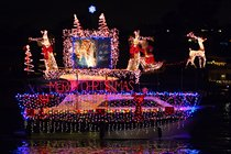 Joy to the World, decorated boat at the Newport Beach Parade of Lights