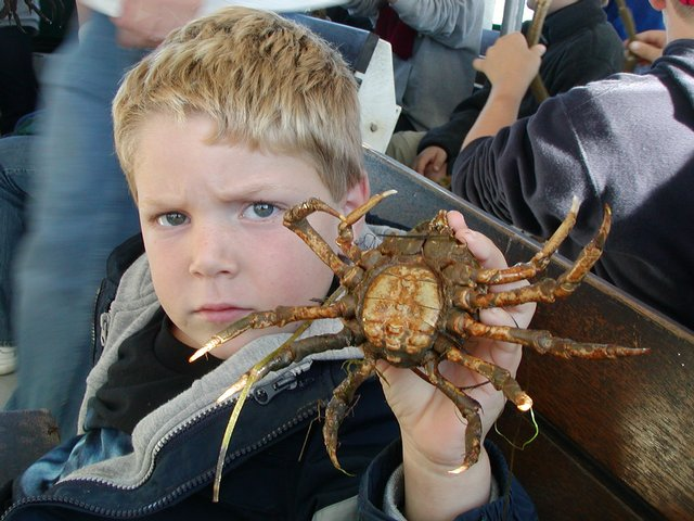 Timothy shows off a crab