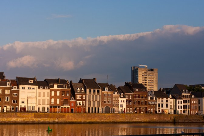 The view across the Maas from the city center in Maastricht