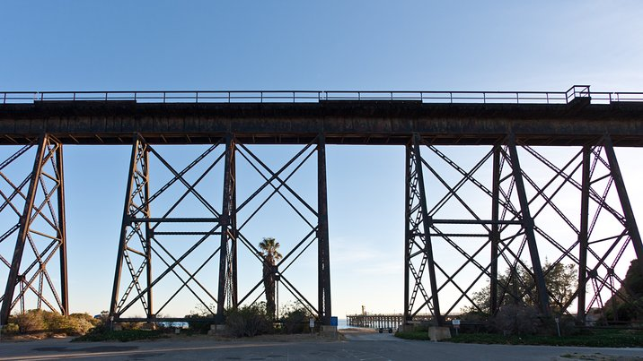 Railway trestle at Gaviota State Beach, California