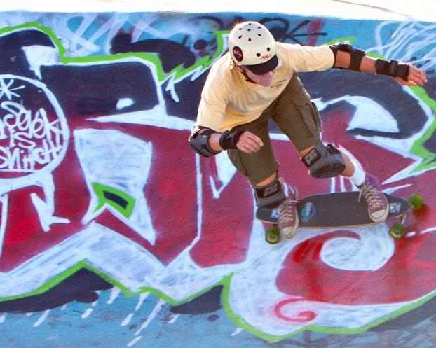 Older skater in the Greer Park Skateboard Bowl, Palo Alto