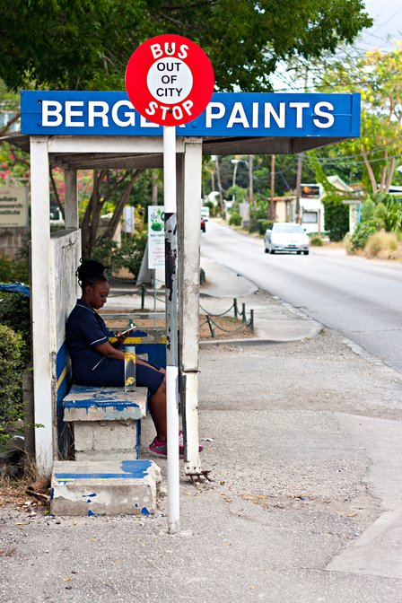 Bus stop next to the Bellairs Research Institute, Holetown, Barbados