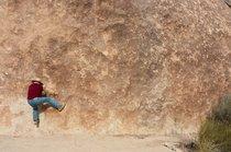 Scott Rychnovsky scrambling at Indian Cove, Joshua Tree National Park, California