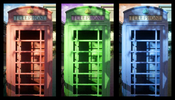 Red, green and blue telephone booths