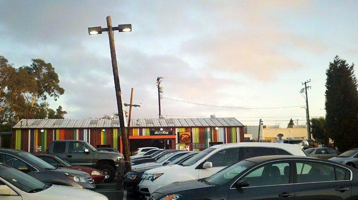 Parking lot at The Lab shopping center, Costa Mesa, California