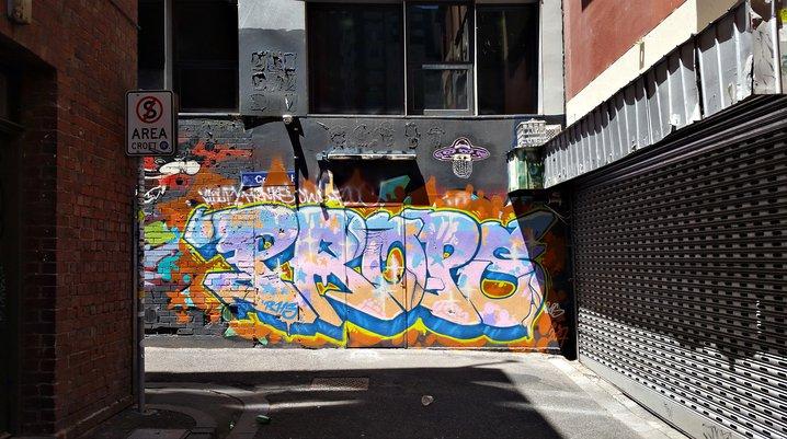 Graffiti in an alley off Little Bourke Street, Chinatown, Melbourne, Australia