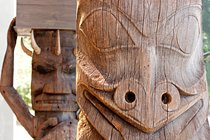 Two totem poles, Museum of Anthropology, Vancouver, Canada