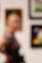 Blurred art viewers at the Orange County Fair