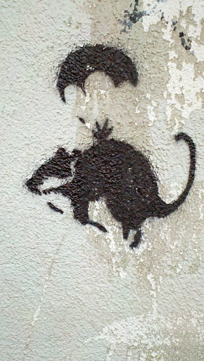 Parachute rat graffiti
