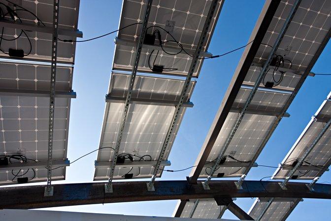 Solar panels on the West Virginia / Tor Vergata entry in the 2015 Solar Decathlon, Irvine, California