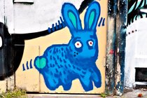 Blue bunny, graffiti in Spui, Amsterdam