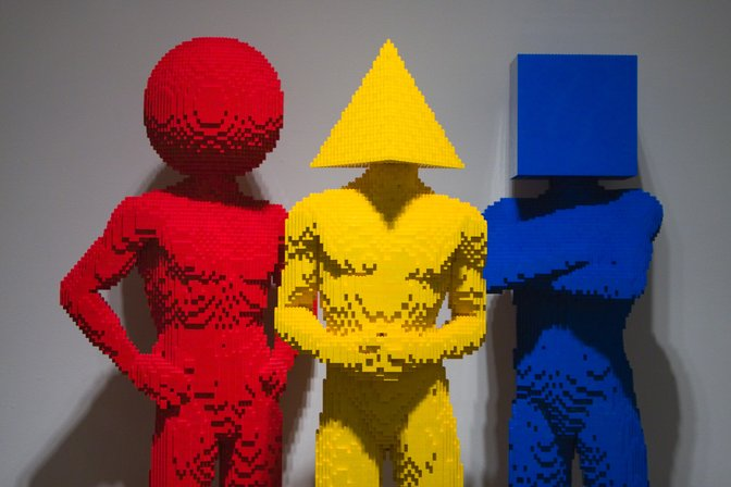 Circle, Triangle, Square. Three Lego figures from the exhibit Nathan Sawaya: The Art of the Brick, Turtle Bay Exploration Park, Redding