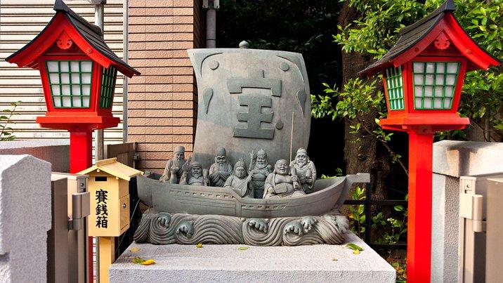 Seven lucky gods in a treasure boat, Juban-Inari shrine, Tokyo
