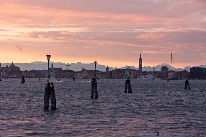 Sunset over Venice, from San Servolo