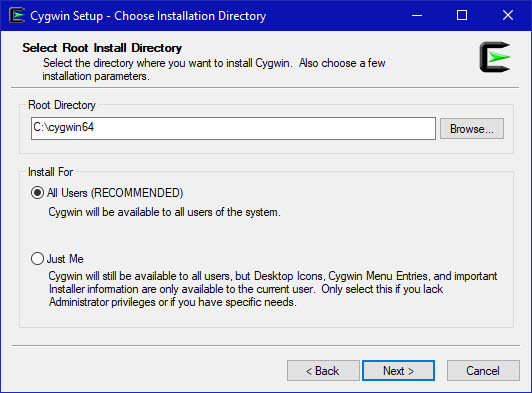 Cygwin toolset download and installation instructions.