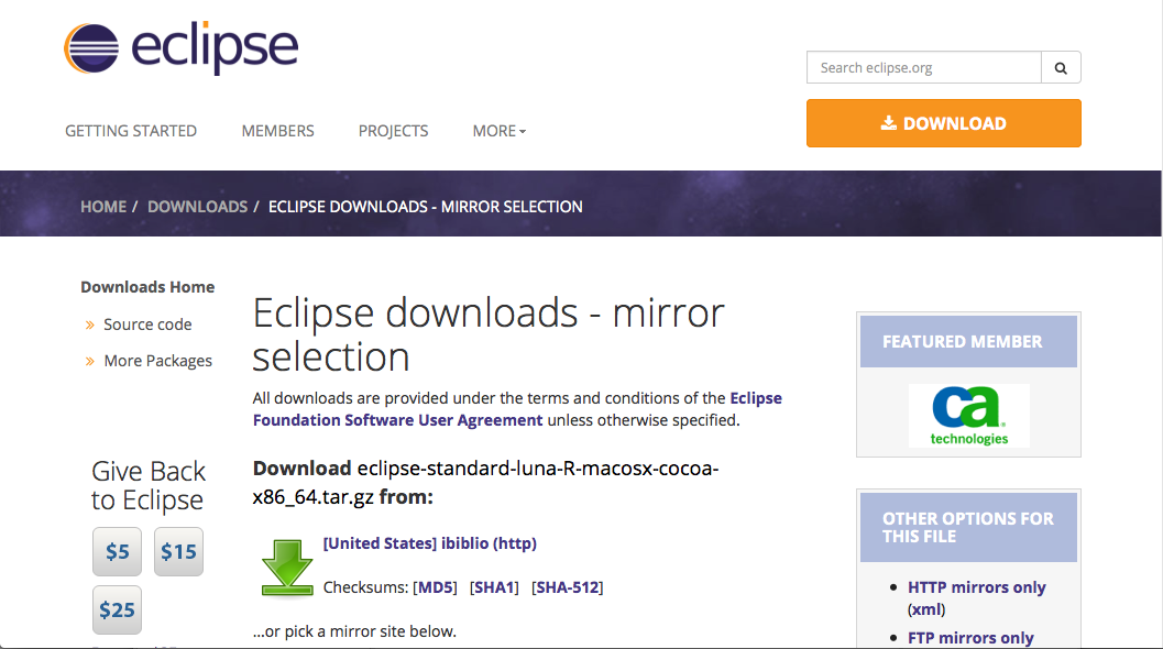 eclipse for mac snow leopard download