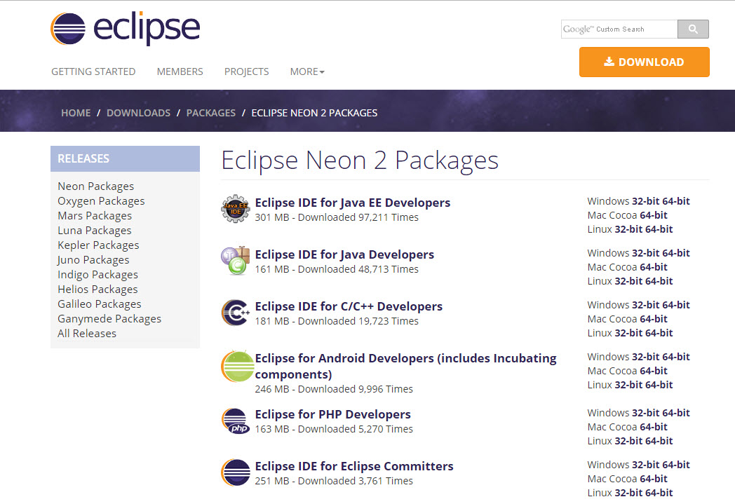 Eclipse download and installation instructions.